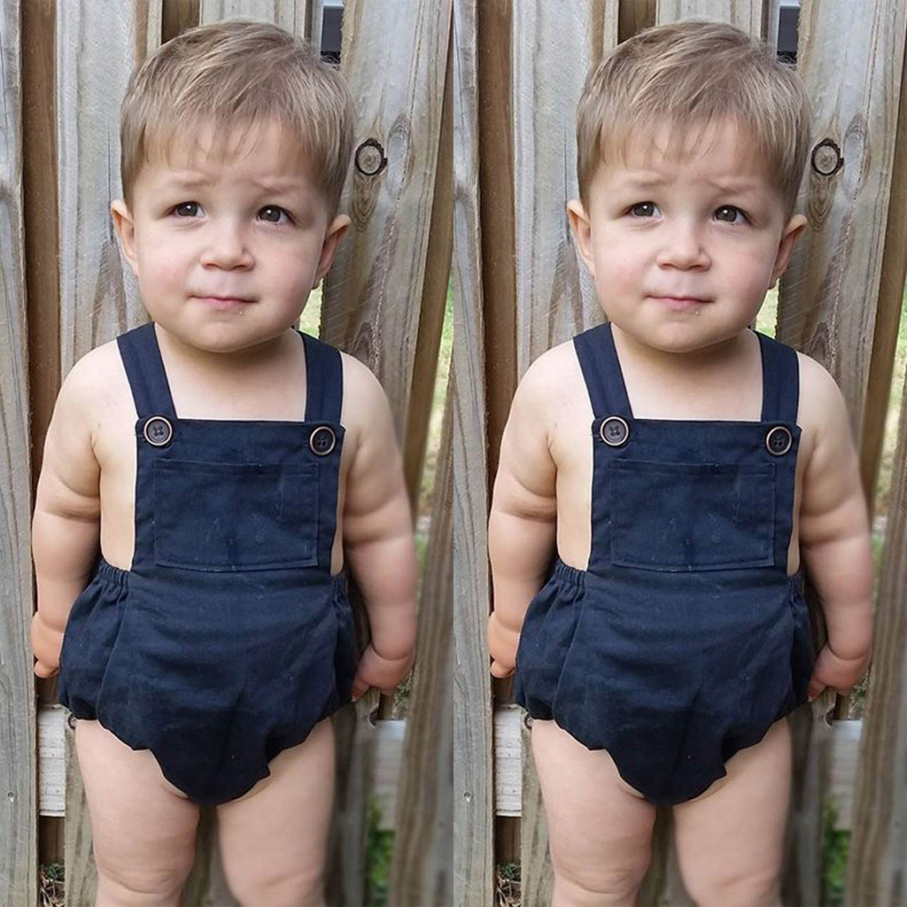 Baby Summer Clothes 2019 Toddler Baby Boy Girl Sleeveless   Romper   Solid Square Colla Overalls Clothes Outfits Infantis Costume@35