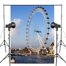 150x220cm London Eye Photography Background Ferris Wheel Backdrop Studio Props Wall Water Photography Backdrop стоимость