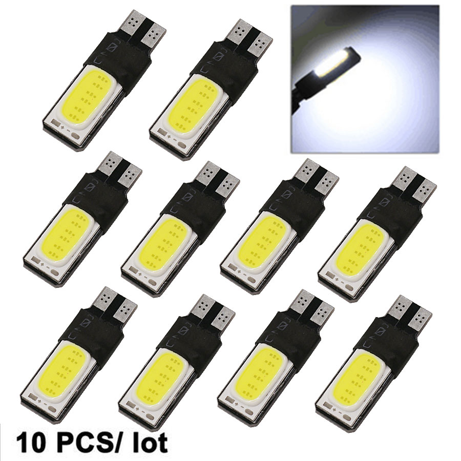 10pc Canbus Error Free T10 LED Interior Bulb 194 168 W5W License Plate Backup Light Brake Auto White COB Car Lamps Free Shipping high t10 canbus 10pcs t10 w5w 194 168 5630 10 smd can bus error free 10 led interior led lights white 6000k canbus 300lm