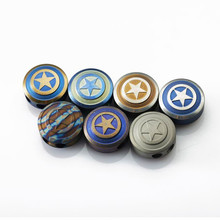 TC4 Titanium Alloy Beads Metal Charms EDC Shield For Bracelet Knife Rope Lanyards Accessories DIY Outdoor Tools Double Hole