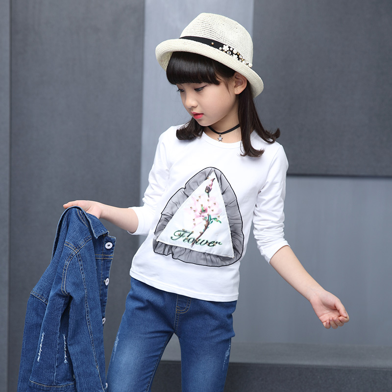 The spring and autumn season Hot Girl Cowboy three piece stamp cotton T-shirt + new embroidered cowboy suit 4-13 years old child 2016 autumn and spring new girl fashion cowboy short jacket bust skirt two suits for2 7 years old children clothes set