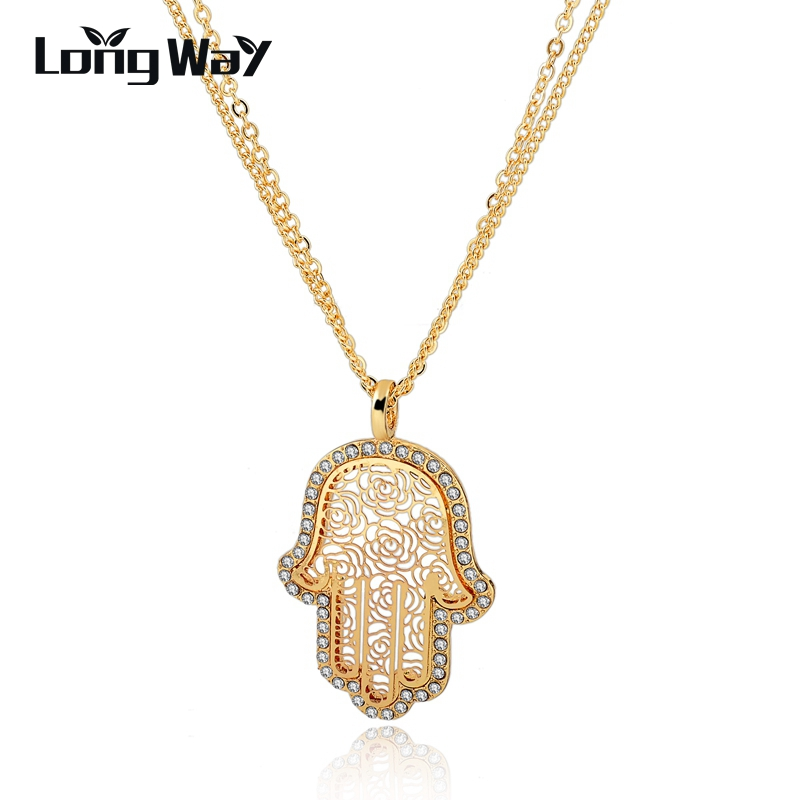 LongWay Long Gold Color Chain Multi-layer Necklaces With Crystal Hand Pendants 2017 Fashion Hol Design For Women SNE150883103