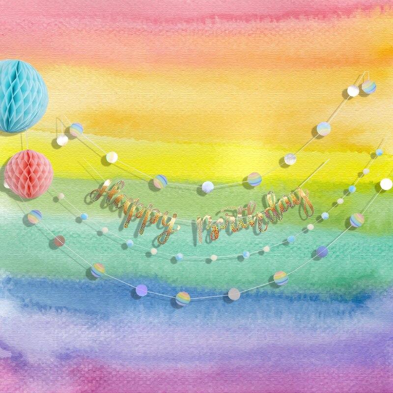 Iding Partie Décoration D'anniversaire Enfants Aquarelle Papier DIY Ensemble Arc-En-/Princesse/Mer/Licorne Événement de Fête D'anniversaire Décoration filles