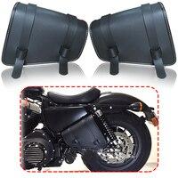 Black PU Leather Saddlebag Motorcycle Saddle Bags L&R Side Storage Motorbike Side Tool Bag For Harley Sportster XL883 XL1200
