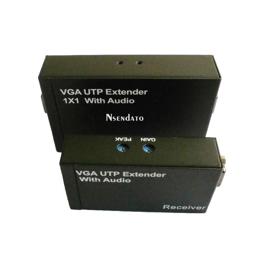 1080 P VGA femelle 15pin UTP Extender 300 m 1x1 séparateur avec Audio sur Cat 5e/6 RJ45 adaptateur ethernet pour moniteurs projecteur HDTV