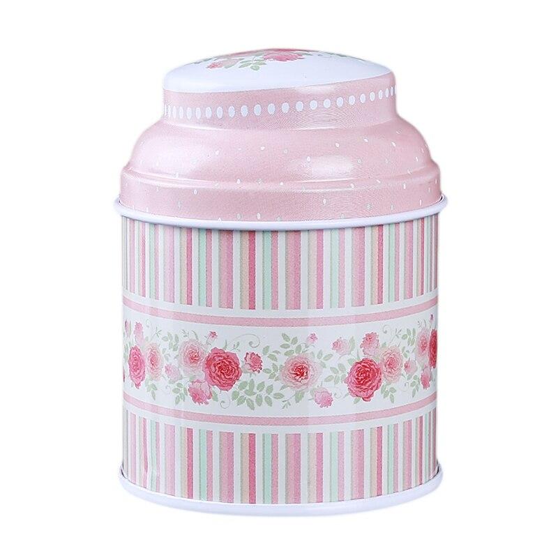 Кухонный домашний декор, металлический Цветочный кофе, чай, сахар, контейнер для конфет, банка, жестяная коробка для сортировки, аксессуары для дома - Цвет: pink strip