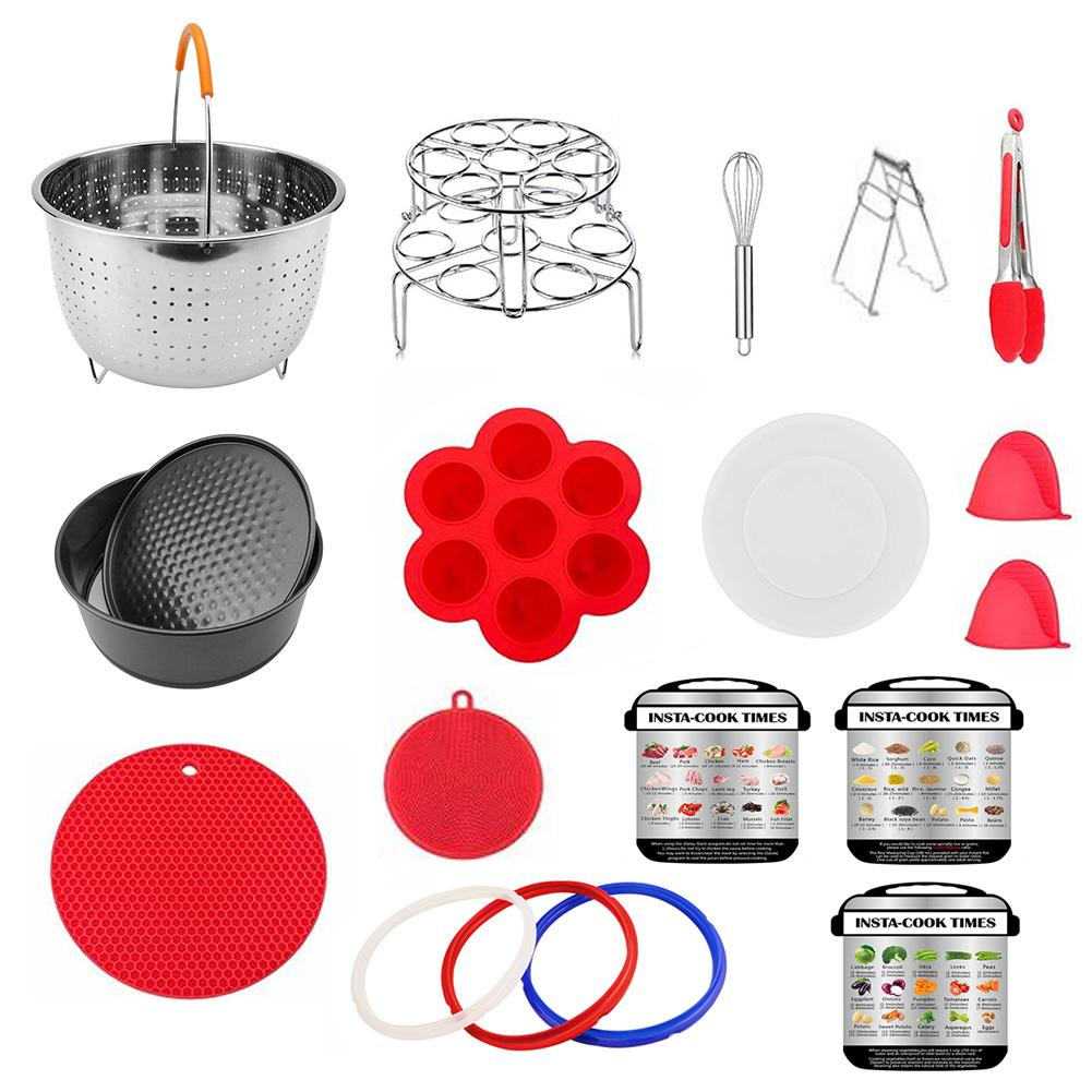 19pc Electric Pressure Cooker Accessories Instant Pot Steamer Basket Food Supplement Box Silicone Gloves Red Kitchen Utensil Set19pc Electric Pressure Cooker Accessories Instant Pot Steamer Basket Food Supplement Box Silicone Gloves Red Kitchen Utensil Set