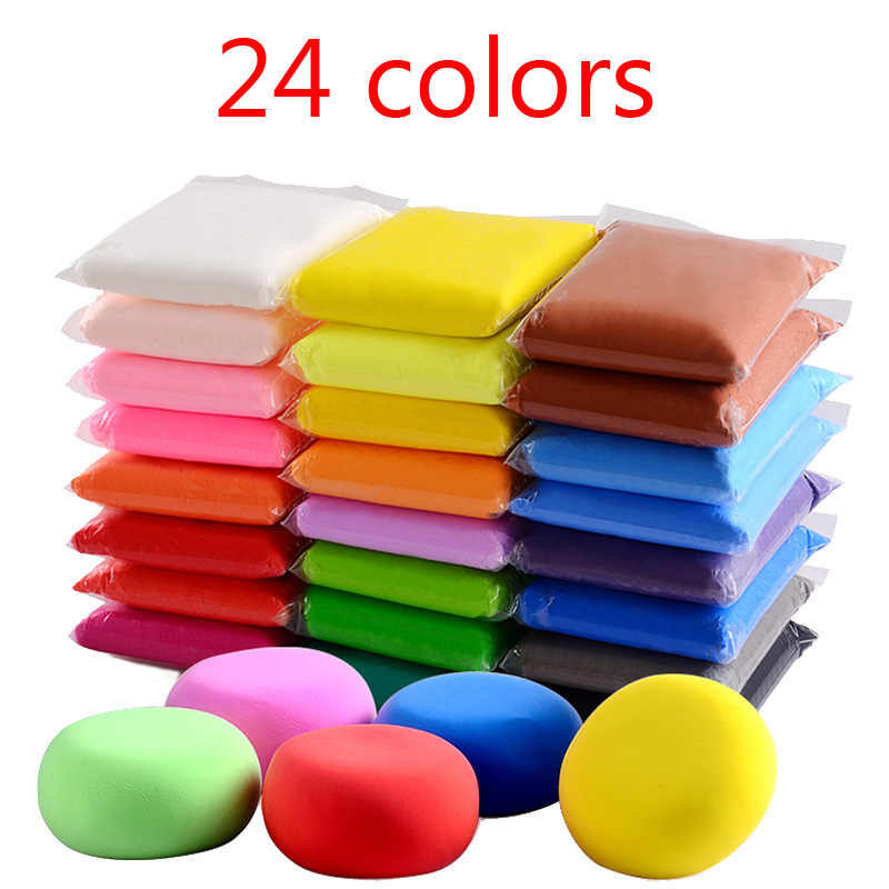 24 Colors Manual DIY kids Toys Kindergarten Wholesale Modeling Polymer Clay slime slide lizun lysine Plasticine Kids Toy Gifts
