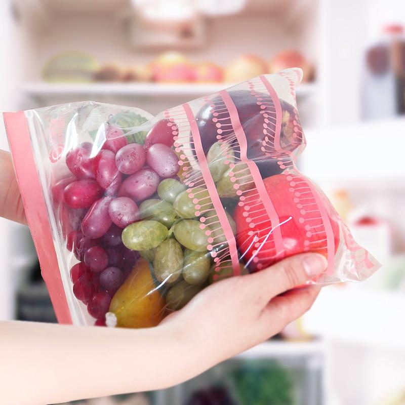 50PCS Reusable Fresh Zipper Bag Freezing Heating Food Saran Wrap Storage Bag Versatile Vacuum Sealed Bag Kitchen Accessories
