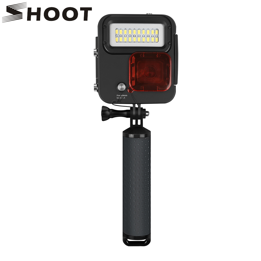 SHOOT 1000LM buceo luz LED funda impermeable para GoPro Hero 7 6 5 negro 4 3 + Cámara de Acción plateada con accesorio para Go Pro 6 5