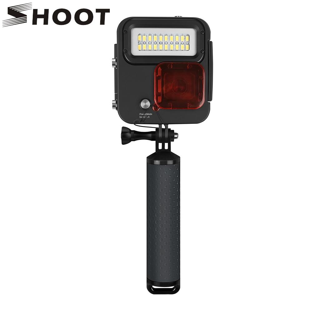 SHOOT 1000LM lumière LED de plongée étui étanche pour GoPro Hero 7 6 5 noir 4 3 + argent caméra d'action avec accessoire pour Go Pro 6 5