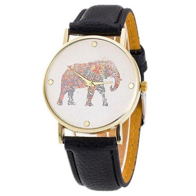 2017 Роскошные модные Для мужчин Часы кварцевые Для женщин слон принт плетением кожа кварцевые часы Часы Relogio feminin