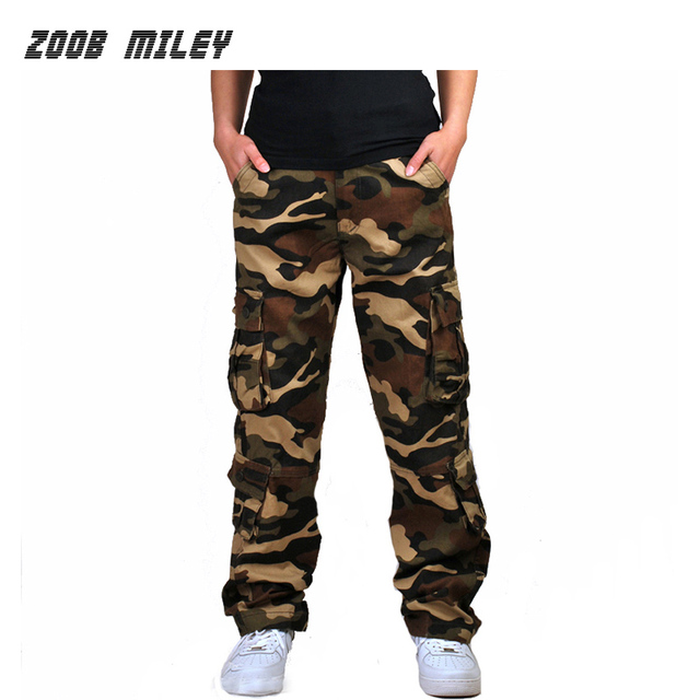 Mens Camouflage Baggy Cargo Pants Military Loose Fit Multi-pocket Casual Cotton Work Straight Tactical Overalls Trousers