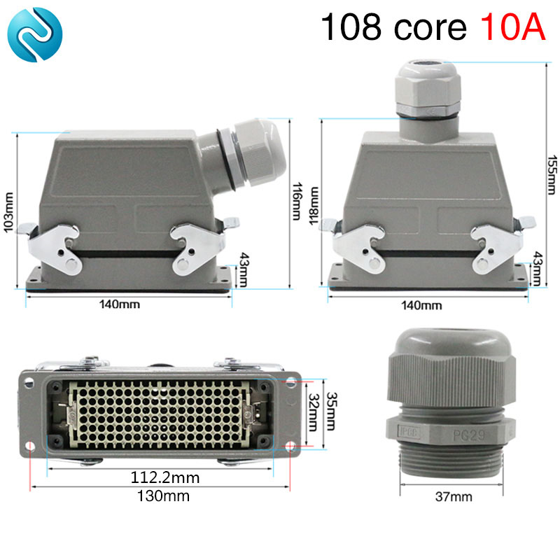 цена на Heavy duty connector 108 cold pressed rectangular air plug hdc-hdd-108 industrial waterproof socket 10A