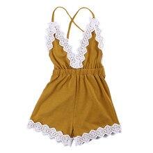 Одежда для маленьких девочек милый комбинезон с глубоким v-образным вырезом и кружевом для девочек, летний костюм, одежда футболка для детей от 0 до 24 месяцев