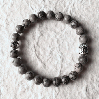 Mcllroy Men Bracelets With Silver Buddha Grey Stones elastic rope bracelets&bangles Pulseras mujer Bracelets with lion Pulseiras Браслет