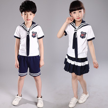 School uniforms New models Girls Suit Boys t shirt+Skirt Kids Preppy Striped School Uniform For Girls Navy Sailor Boys Clothes