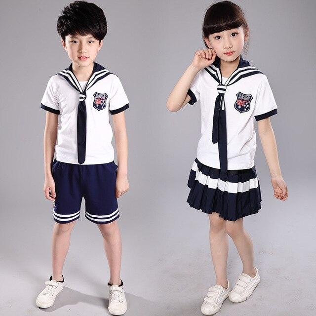 76ad948c1 Uniformes escolares nuevos modelos niñas traje niños camiseta + falda niños  Preppy rayas uniforme escolar para