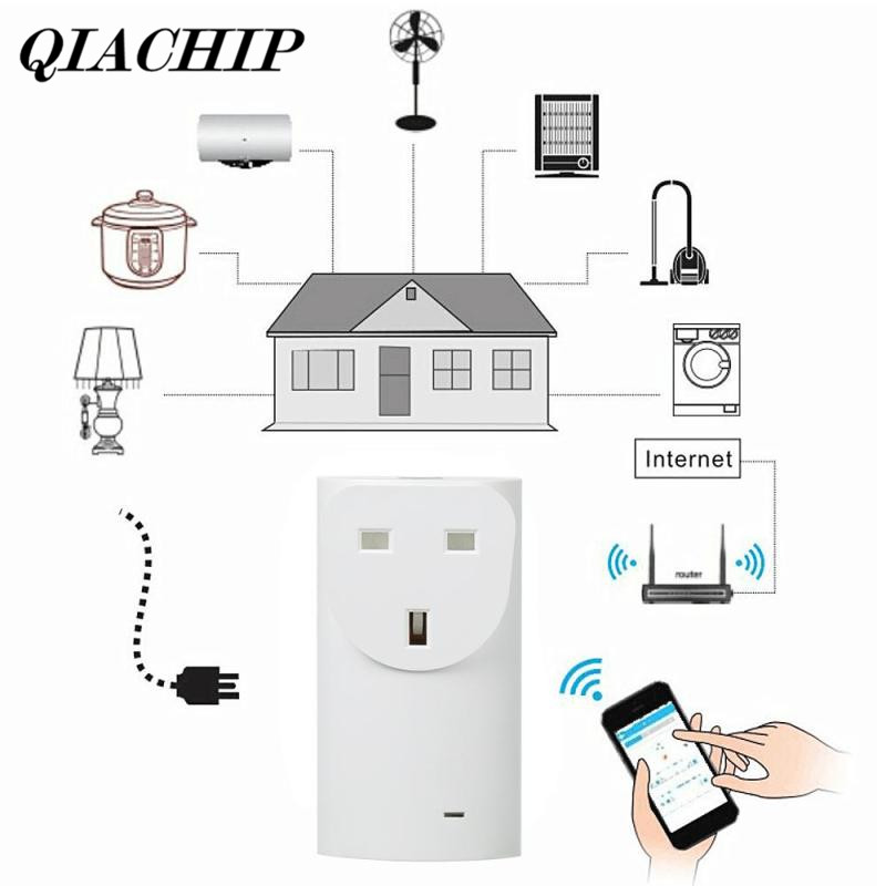 QIACHIP Wifi EU Plug Wireless Smart Home Outlet Light Lamp Switch Socket Remote Control Connector App Remote Switch Outlet DS30 qiachip wifi wireless power eu plug smart home outlet light switch socket remote control switch outlet work with amazon alexa