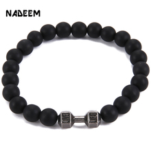 Hot Powerful Mens Gift Alloy Metal Barbell with 8MM Lava Rock Stone Bead Fitness Fit Life Dumbbell Elastic Bracelets ND3561