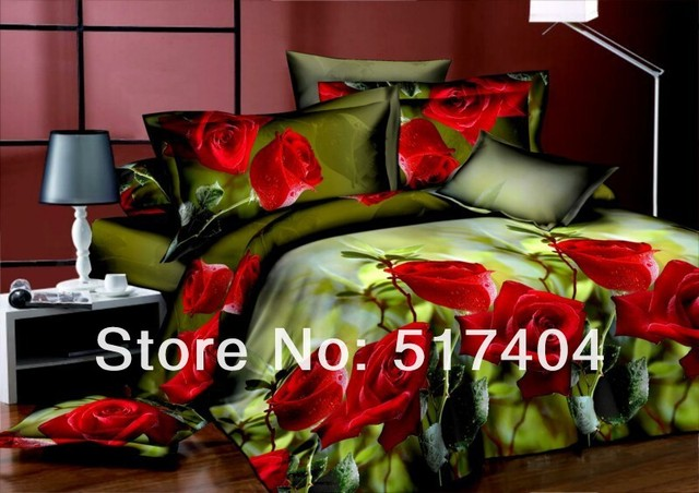 Discount ! 3D Oil painting bedding cover,3d oil painting bed sets,green and red rose floral 3d bed linen,EMS Free Shipping