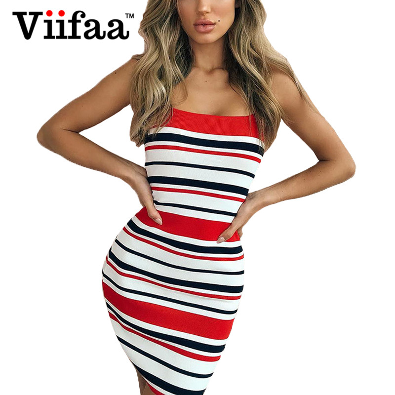 Viifaa Bodycon Striped Dress Knitted Good Elasticity Women One Size Sexy Female Summer Red Short Dresses 2016 women s clothing fashion in europe and the atmosphere bohemia elasticity knitted cultivate one s morality dress