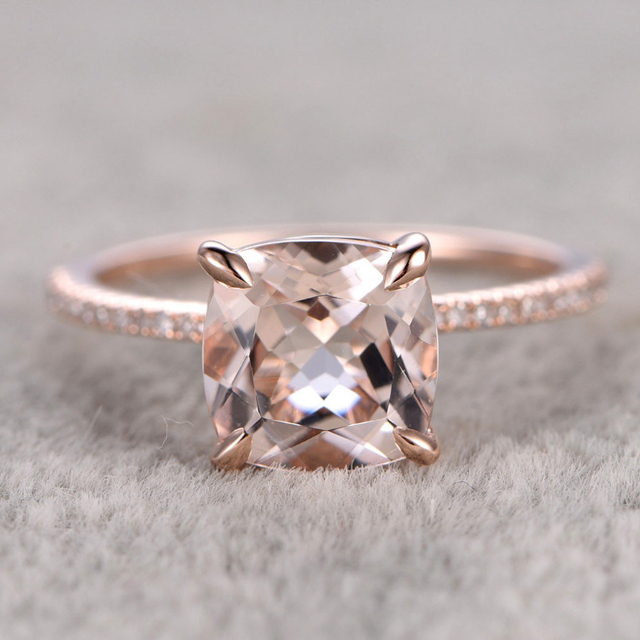 8mm Morganite Rings For Women Female Ring Engagement Ring 14k Rose