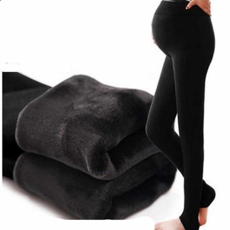 Winter Velvet Maternity Leggings Pants For Pregnant Women Warm Maternity Clothes Thickening Pregnancy Trousers Clothing