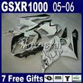 7 gift fairing kit for motorcycle SUZUKI GSXR 1000 K5 K6 fairings flat black white motorcycle set 2005 2006 GSXR1000 05 06 CN64