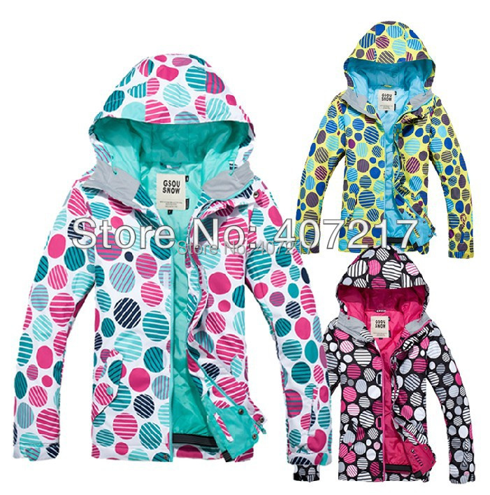 Free shipping 2013 womens polka dots snowboard jackets ladies colorful round dots ski jacket for women skiwear waterproof warm polka dots spaghetti straps womens short dress
