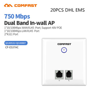 20pc DHL 750Mbps In-Wall Wireless AP for Hotel/Home/Villa Wireless Access Point Router RJ11 RJ45 Wan/Lan WiFi Repeater Extender(China)