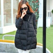 Осень женщины ватные куртки женщин стоять воротник средней длины 2016 зима плюс размер свободные вниз хлопка-ватник s106
