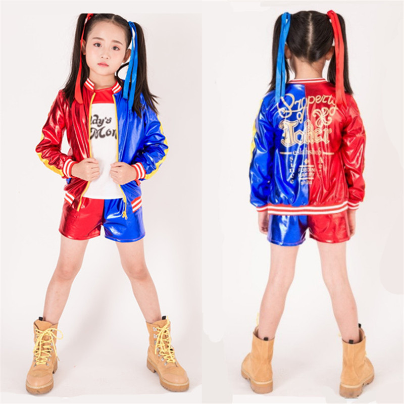 Suicide Squad Harley Quinn Cosplay Costume Coat Shorts Top Wig Gloves Set Halloween Suit