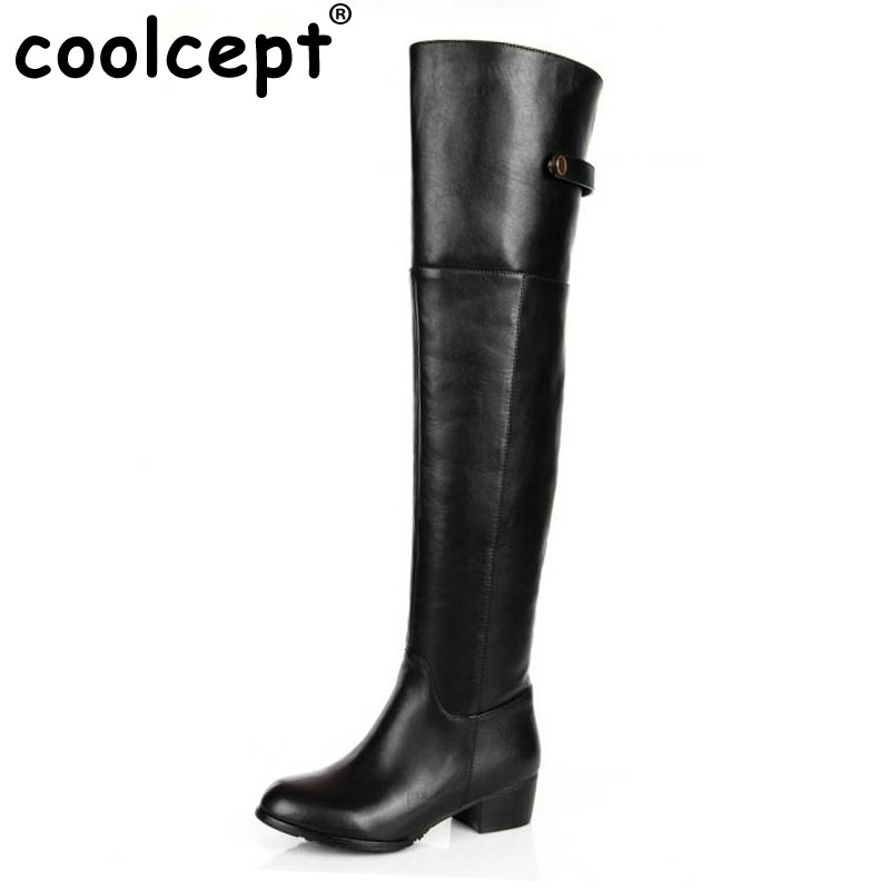 Coolcept Free shipping over knee natrual real genuine leather high heel boots women snow warm boot shoes R2260 EUR size 30-45