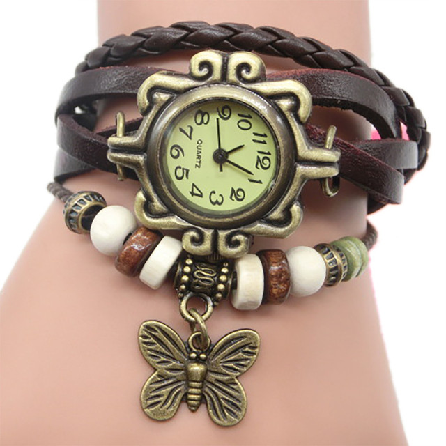 Hot fashion creative watches Retro Weave Wrap Lady Bead Butterfly Dangle Bracelet Vintage