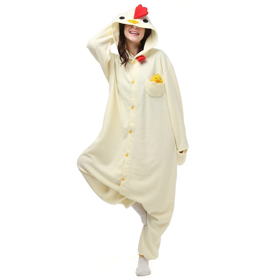 Anime Animal White Chicken Home Couple Pajamas Set Adults Onesie For Women Unisex Sleepwear Hooded Fleece Pijamas LTY52