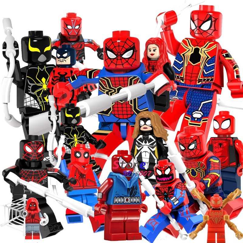 Único Super Hero SpiderMan Venom Spider-Man Peter Carnificina Ação modelo Vulture tijolos blocos de construção de brinquedos para crianças