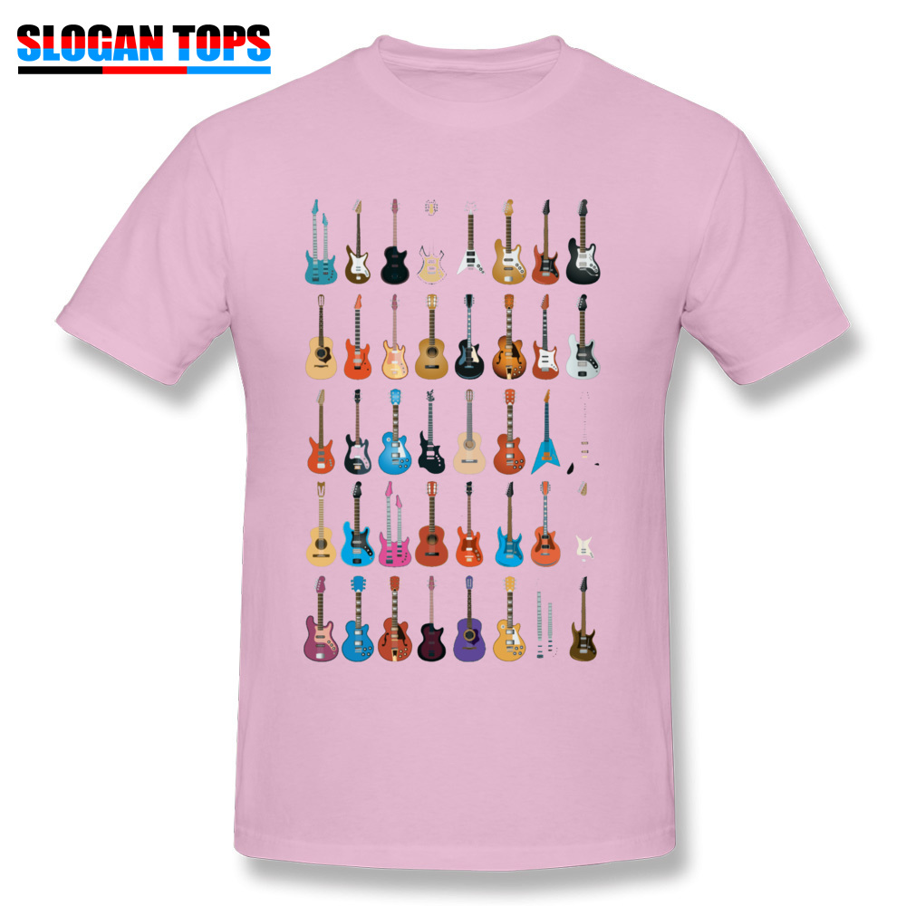 Custom 3D Printed T-shirts 2018 Summer Short Sleeve Round Neck T Shirt Cotton Fabric Men Normal T Shirts Drop Shipping Love Guitar Different Guitars Music Lover Funn pink