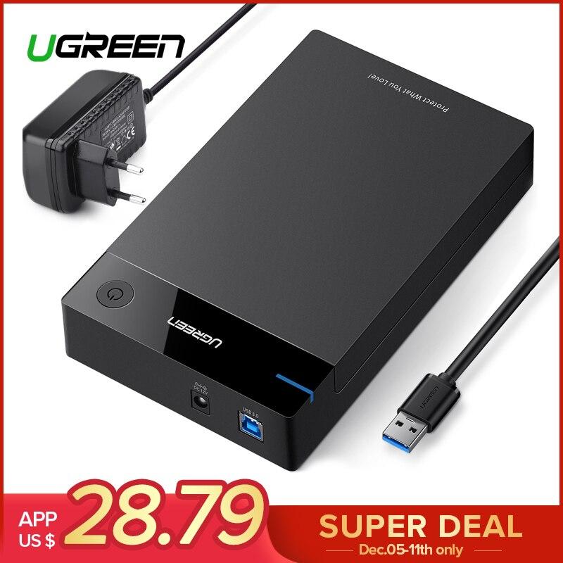 Ugreen 3,5 pulgadas caso HDD SSD adaptador SATA a USB 3,0 para disco duro de 1 TB 2 TB 2,5 almacenamiento externo HDD