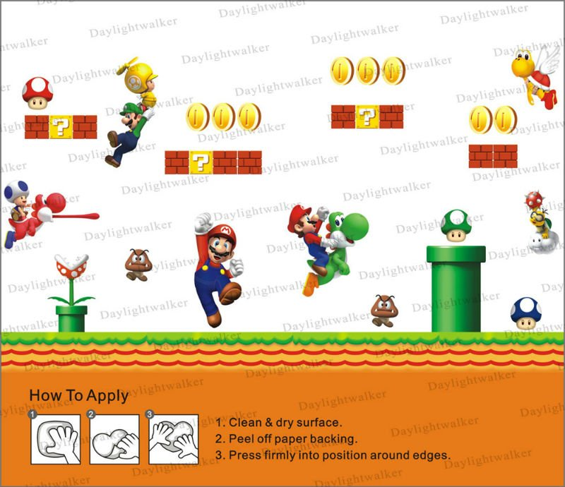 ... Free Shipping 240 200cm Huge L Size Kids Room Hot S Super Mario Bros  Wall Sticker ...