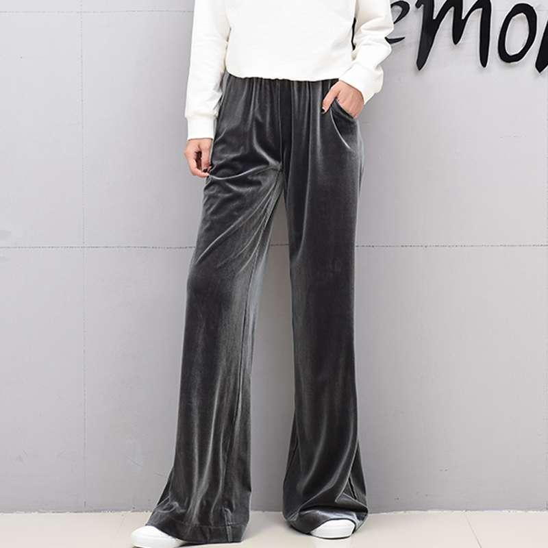 #0402 Spring 2019   Wide     Leg     Pants   Women High Waist Full Length Fashion Loose Straight Casual Velour   Pants   Ladies Elastic Waist