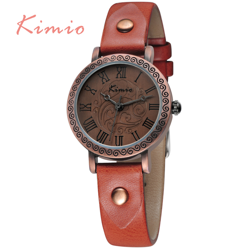 KIMIO Brown Leather Band Watch For Women Vintage Luxury Relojes Mujer 2016 Quality Watches for Women