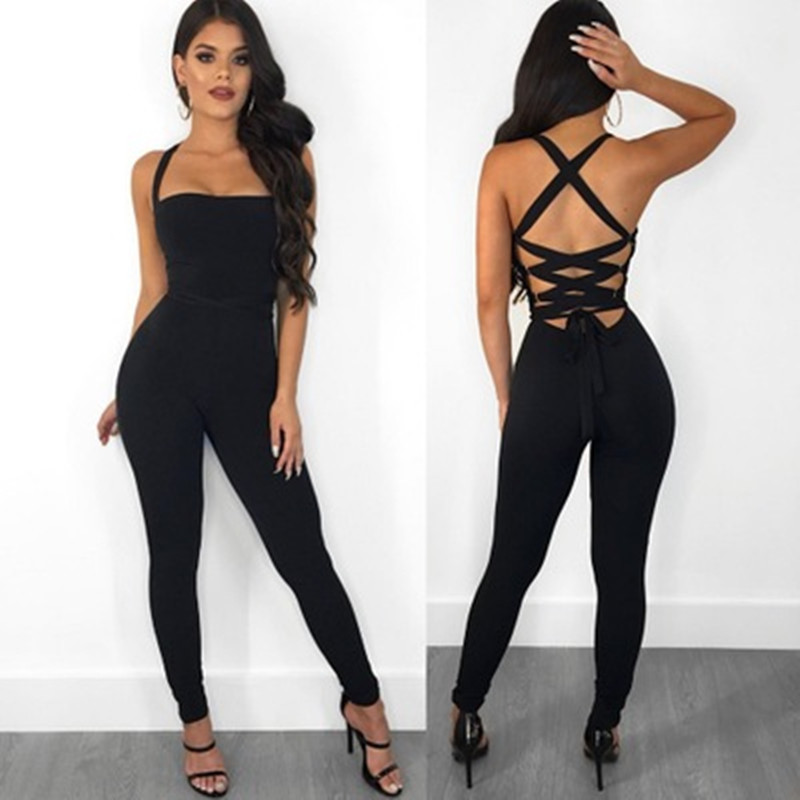 Sexy Bondage Women Jumpsuit  Slim Skinny Solid Color Bodysuit Cross Hollow Out Lady Overall Bodysuit