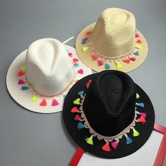 2016 Nueva Corea Borlas de Color Sombrero de Paja para las mujeres sun sombreros de Verano de moda Playa viajes sombrero chapeu feminino