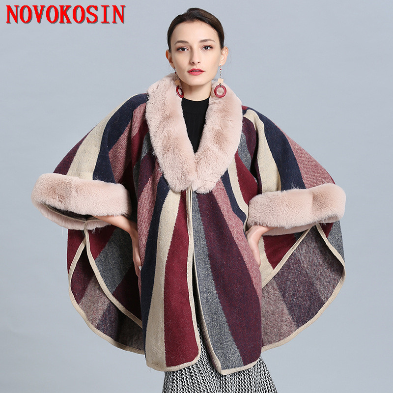 Promo  2019 Winter New Large Size 210cm Women's Knitted Cardigan Faux Fox Fur Cape Fashion Striped Ladies