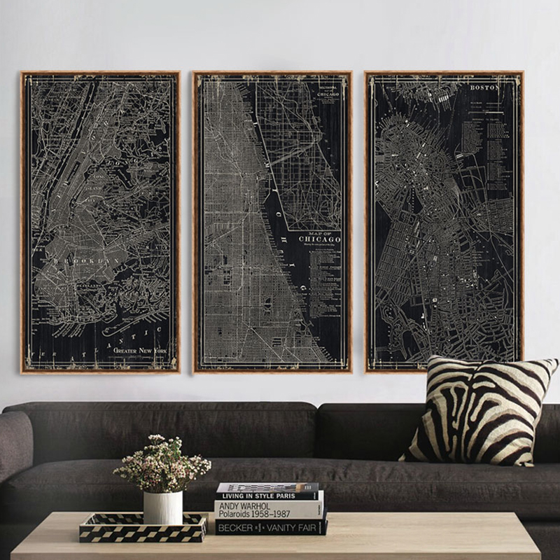 Buy black and white modern city map 3 piece canvas art for living room home for Canvas prints childrens bedrooms