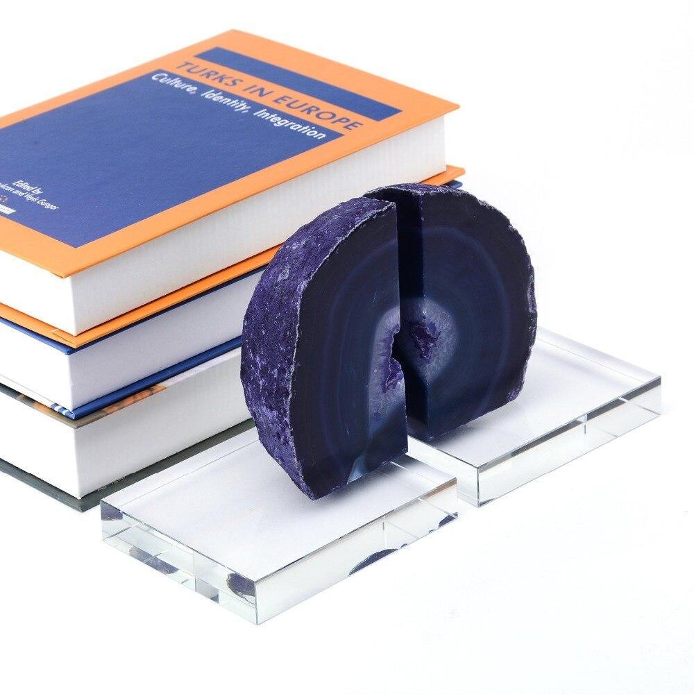 Cristal décoratif Serre-livres Heavy Duty en Violet Agate Serre-livres pour bureau Étagères Bureau Art Artisanat 4104