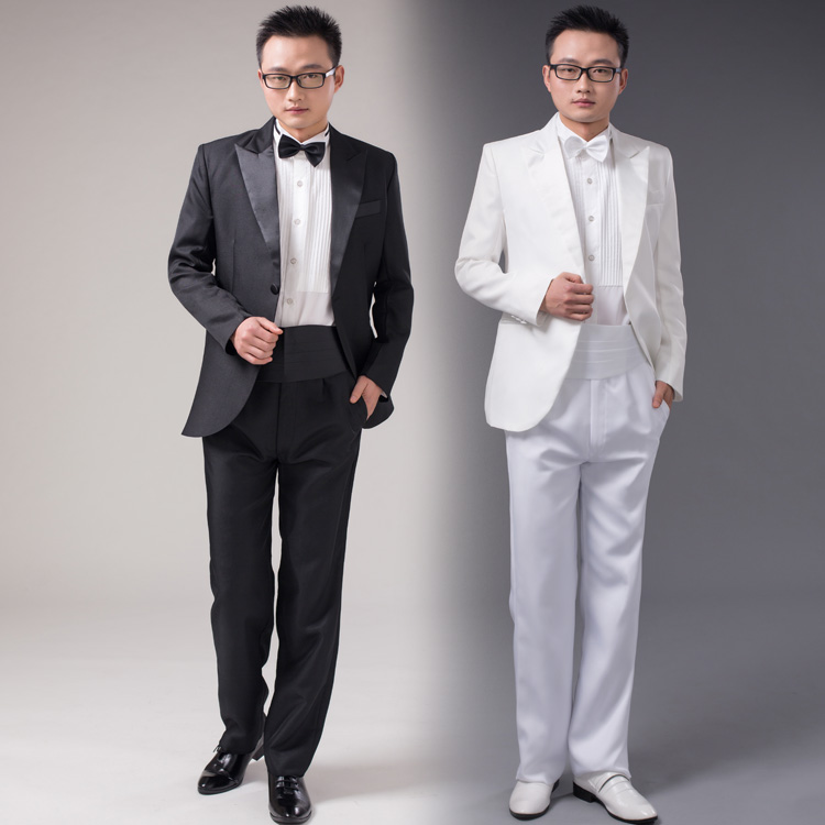 Jacket Pants Bow Tie 2017 New Fashion Men Suits White Black Groom Wedding Dress Compere Suit In From S Clothing Accessories On