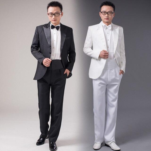 Jacket Pants Bow Tie 2017 New Fashion Men Suits White Black Groom