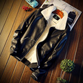 Autumn and winter youth men's cashmere leather with thickened male Korean slim coat casual men's leather jacket tide PU locomoti